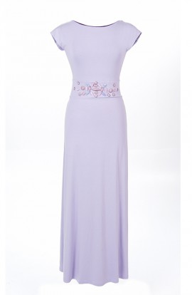 Annette, long maxi dress in lilac with sleeves and back detail