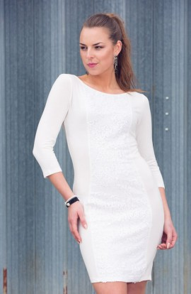 Chloe Sequined Dress (White)