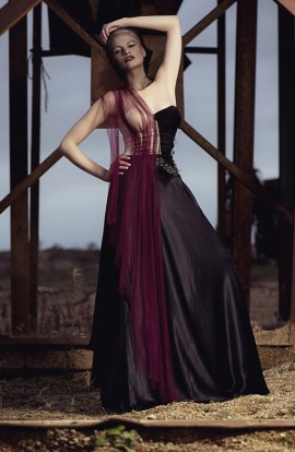 Silk tulle, corseted dress with leather