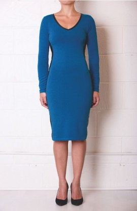 Lola Soft Cotton Dress in Moss Blue