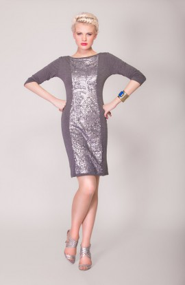 Chloe Sequined Dress (Grey)