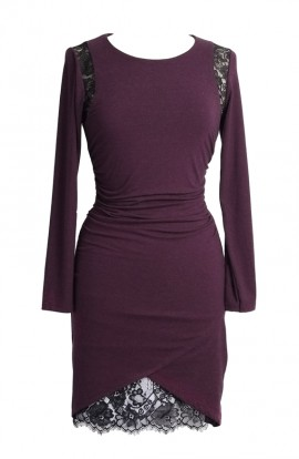 Kara jersey irregular hem dress with lace underskirt