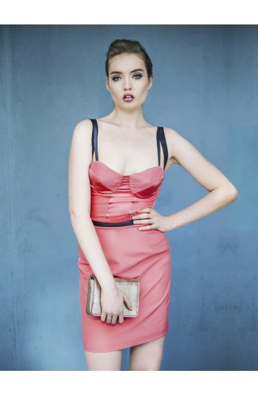 Nancy mini silk dress in coral pink