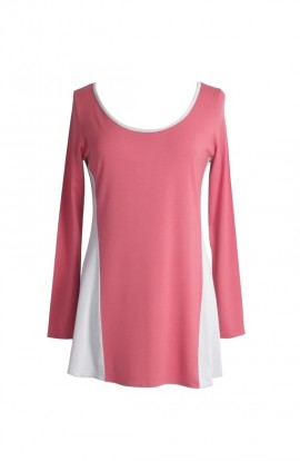 Harmony tunic in coral with contrasting sides