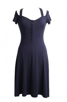 Navy Naz knee length sun dress with covered buttons