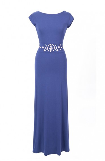 Annette, long maxi dress in navy with sleeves and back detail