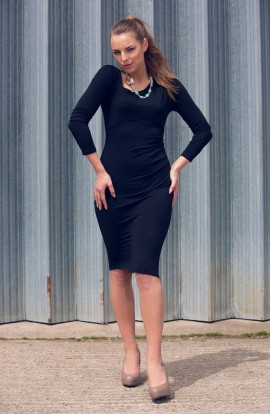 April Asymmetric Dress in Black