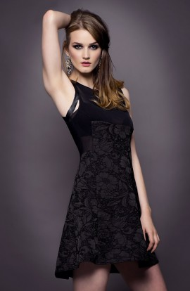 Lexie Cotton Dress with Leather Detail