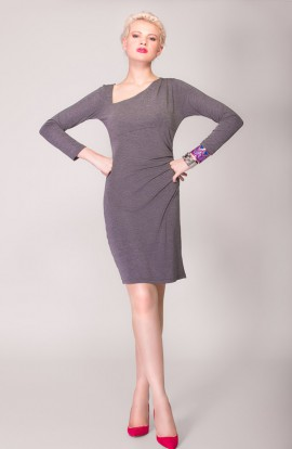 April Asymmetric Dress in Grey
