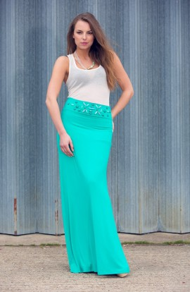 Annette Long Skirt with Embellished Waist band Mint