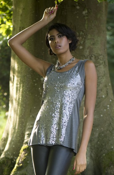 Alex sequin panel jersey top in Silver Grey