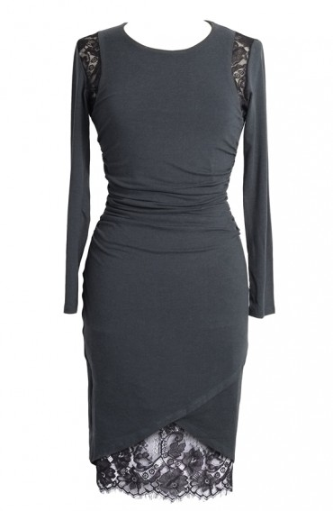 Kara stretch jersey dress with chantilly lace lining