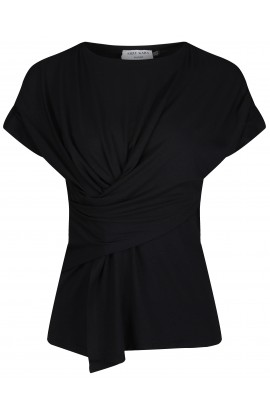 Charlize black draped jersey top