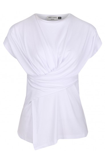 Charlize white draped jersey top