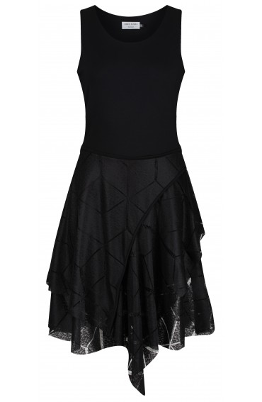 Sienna Black Jersey-Lace Dress