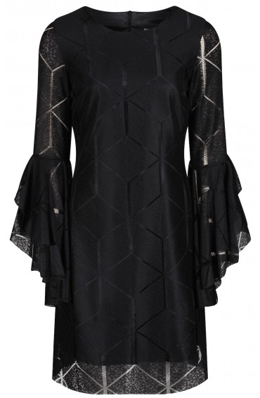 Amelia black lace dress with statement sleeves