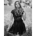 Mila lace and leather dress in black