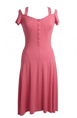 Coral Naz Knee length Sun dress with covered buttons