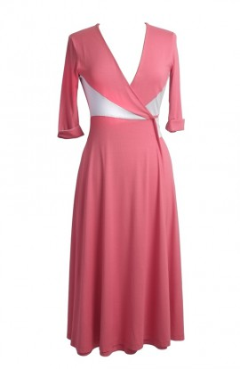 Diana Wrap Dress in Soft Coral-Dove Grey