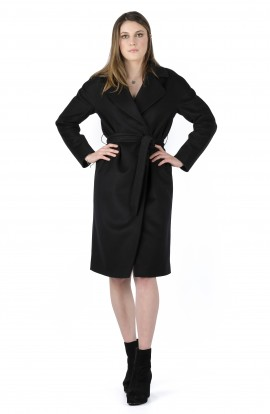 Ophelia wool and cashmere black softly tailored long coat
