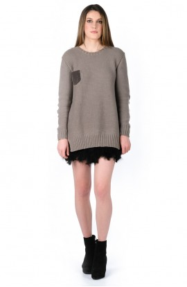 Ottilie Organic Cotton Jumper in Stone with suede elbow patches