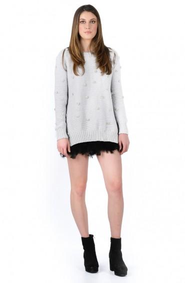 Arabella Light Grey Organic Cotton (GOTS) Jumper with Swarovski Crystals