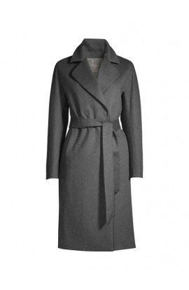 Ophelia double breasted classic lapel tailored over the knee coat in grey