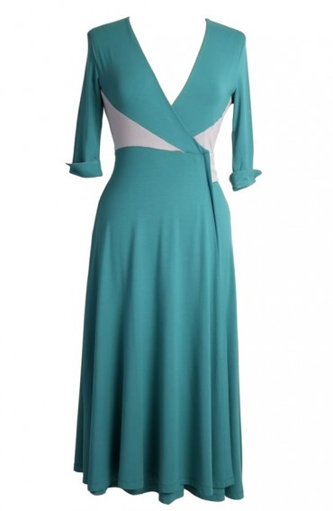 Diana Wrap Dress in Teal Mint-Dove Grey
