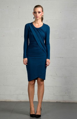 Ilayda Asymmetric Dress In Indigo Blue